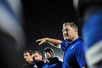Bath Rugby first team coach Neal Hatley speaks to his players in a huddle after the match. Aviva A-League match, between Bath United and Bristol United on December 28, 2015 at the Recreation Ground in Bath, England. Photo by: Patrick Khachfe / Onside Images