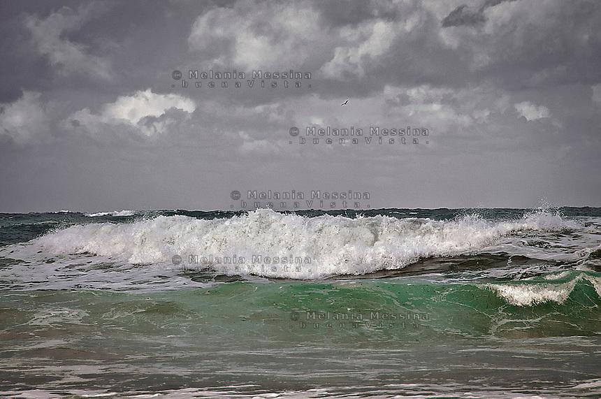 Mondello sea during the winter.<br /> Mare di Mondello in inverno
