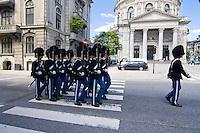 Danish Royal Life Guards (Den Kongelige Livgarde) on parade in Copenhagen, Denmark.