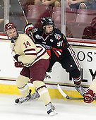 Brooks Dyroff (BC - 14), Joseph Manno (NU - 92) - The Boston College Eagles defeated the visiting Northeastern University Huskies 3-0 after a banner-raising ceremony for BC's 2012 national championship on Saturday, October 20, 2012, at Kelley Rink in Conte Forum in Chestnut Hill, Massachusetts.