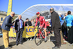 Jenthe Biermans (BEL) Team Katusha Alpecin at sign on for the 115th edition of the Paris-Roubaix 2017 race running 257km Compiegne to Roubaix, France. 9th April 2017.<br /> Picture: Eoin Clarke | Cyclefile<br /> <br /> <br /> All photos usage must carry mandatory copyright credit (&copy; Cyclefile | Eoin Clarke)