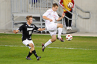 Matt Bahner (17) of the Cincinnati Bearcats is marked by Daniel Fabian (19) of the Providence Friars. The Providence Friars defeated the Cincinnati Bearcats 2-1 during the semi-finals of the Big East Men's Soccer Championship at Red Bull Arena in Harrison, NJ, on November 12, 2010.