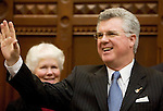 HARTFORD, CT- 07 JANUARY 2008 --010709JS12-Rep. Christopher G. Donovan, D-Meriden waves to colleagues as he is introduced as the new Speaker of the House on Wednesday during the opening day of the general assembly at the state Capitol in Hartford. Donovan will replace Rep-James A. Amann. <br /> Jim Shannon / Republican-American
