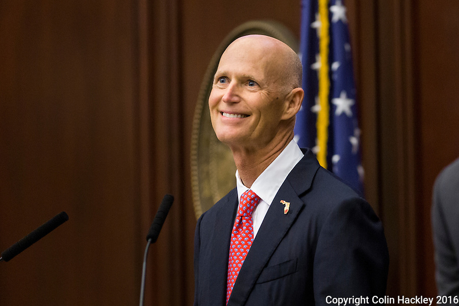 TALLAHASSEE, FLA. 1/12/16-Gov. Rick Scott looks to the gallery as he recognizes his wife Ann during the state of the state address Tuesday at the Capitol in Tallahassee.<br /> <br /> COLIN HACKLEY PHOTO