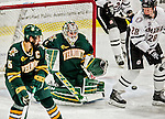 17 October 2015:  University of Vermont Catamount Goaltender Mike Santaguida, a Junior from Mississauga, Ontario, makes a third period save against the University of Nebraska Omaha Mavericks at Gutterson Fieldhouse in Burlington, Vermont. The Catamounts fell to the Mavericks 3-1. Mandatory Credit: Ed Wolfstein Photo *** RAW (NEF) Image File Available ***