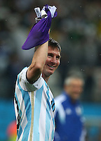 Lionel Messi of Argentina celebrates winning the penalty shoot out