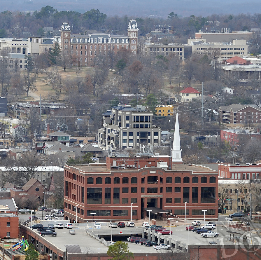 NWA Media/Michael Woods --12/23/2014-- w @NWAMICHAELW...The Legacy Building (center) off Dickson St. in Fayetteville Tuesday afternoon.