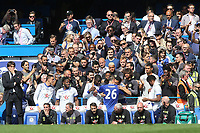 Pedro embraces John Terry after he returns to the substitutes bench after playing the first 26 minutes of the match during Chelsea vs Sunderland AFC, Premier League Football at Stamford Bridge on 21st May 2017