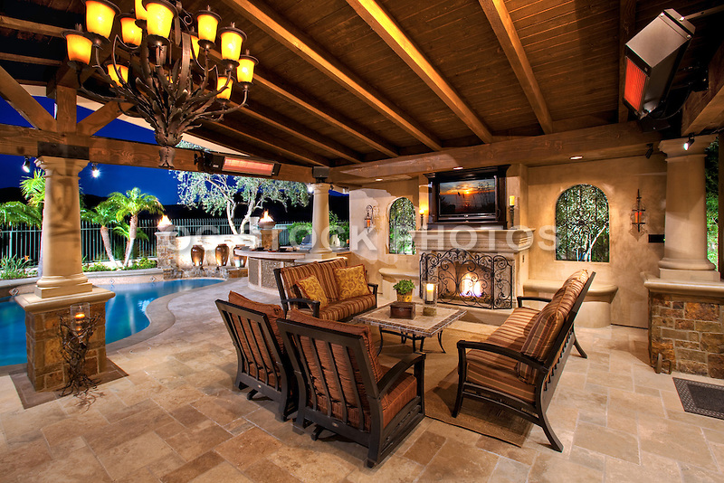 Custom outdoor living with covered patio socal stock for Outdoor rooms photos