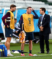 Wayne Rooney of England scratches his head during training ahead of tomorrow's Group D match vs Uruguay