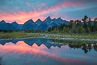 Grand Teton Sunset reflecting in a Shwabacker Landing beaver pond.