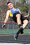 SEYMOUR CT. 18 April 2017-041817SV06-Ryan Keough of Seymour competes in the high jump during NVL track action at Seymour High in Seymour Tuesday.<br /> Steven Valenti Republican-American