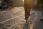 Street Scene of cyclist and tram tracks in Ghent, Belgium, Europe