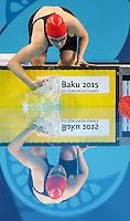 Picture by Alex Whitehead/SWpix.com - 23/06/2015 - Baku 2015, 1st European Games - Swimming - Baku Aquatics Centre, Baku, Azerbaijan - Great Britain's Emma Cain prepares to compete in the Women's 50m Breaststroke Semi-Finals.