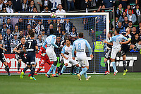 Melbourne, 17 December 2016 - TIMOTHY CAHILL (17) of Melbourne City heads a goal in the round 11 match of the A-League between Melbourne City and Melbourne Victory at AAMI Park, Melbourne, Australia. Victory won 2-1 (Photo Sydney Low / sydlow.com)