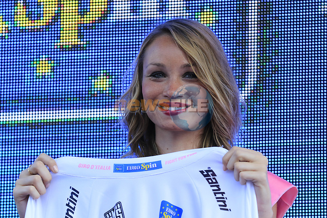 Podium girl Stage 2 of the 2016 Giro d'Italia running 190km from Arnhem to Nijmegen, The Nethrerlands. 7th May 2016.<br /> Picture: Eoin Clarke | Newsfile<br /> <br /> <br /> All photos usage must carry mandatory copyright credit (&copy; Newsfile | Eoin Clarke)