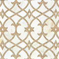 Name: Avila<br /> Style: Classic<br /> Product Number: CB1301PSAVILA  (19&quot;x19&quot;)<br /> Description: Avila, a natural stone waterjet and hand cut mosaic shown in Cloud Nine polished and Lavigne honed, is part of the Miraflores Collection by Paul Schatz for New Ravenna Mosaics.