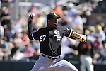 SCOTTSDALE, AZ - MARCH 09:  Tony Pena #57 of the Chicago White Sox pitches against the San Francisco Giants on March 09, 2011 at Scottsdale Stadium in Scottsdale, Arizona. The Giants defeated the White Sox 4-2.  (Photo by Ron Vesely)
