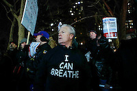 A Man demonstrate outside of City Hall in support of the New York Police Department (NYPD) in New York December 19,2014 . Kena Betancur/VIEWpress