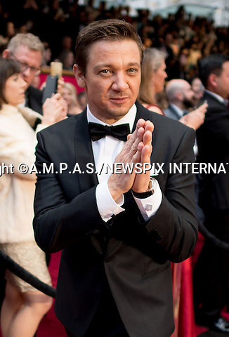 26.02.2017; Hollywood, USA: JEREMY RENNER<br /> attends The 89th Annual Academy Awards at the Dolby&reg; Theatre in Hollywood.<br /> Mandatory Photo Credit: &copy;AMPAS/NEWSPIX INTERNATIONAL<br /> <br /> IMMEDIATE CONFIRMATION OF USAGE REQUIRED:<br /> Newspix International, 31 Chinnery Hill, Bishop's Stortford, ENGLAND CM23 3PS<br /> Tel:+441279 324672  ; Fax: +441279656877<br /> Mobile:  07775681153<br /> e-mail: info@newspixinternational.co.uk<br /> Usage Implies Acceptance of Our Terms &amp; Conditions<br /> Please refer to usage terms. All Fees Payable To Newspix International