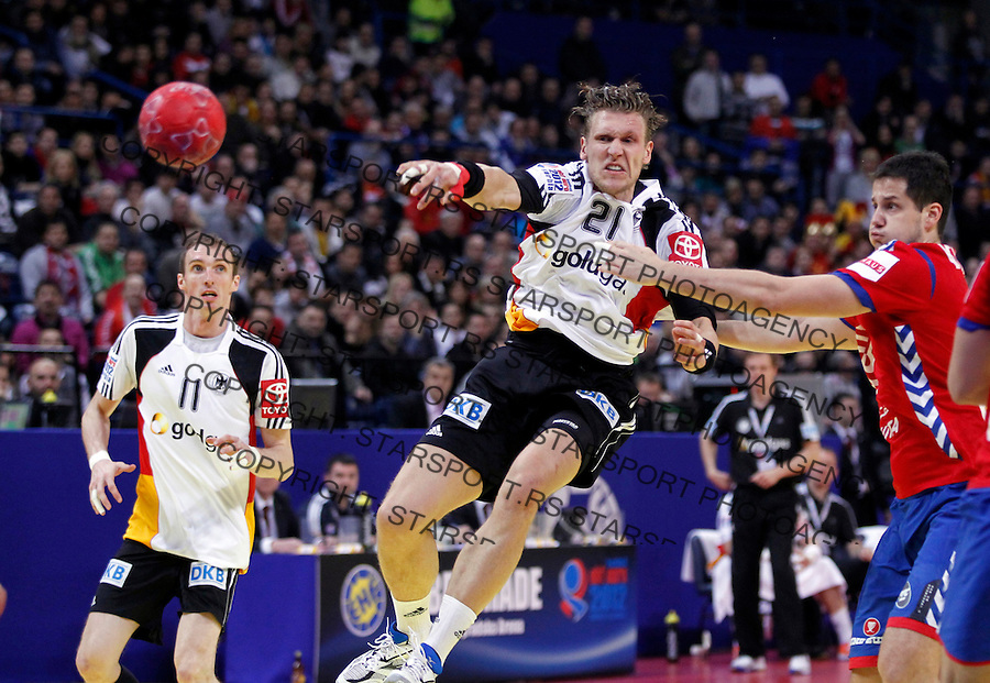 Lars Kaufmann of Germany in action during main round, group 1 men`s EHF EURO 2012 championship handball game between Serbia and Germany in Belgrade, Serbia, Saturday, January 21, 2011.  (photo: Pedja Milosavljevic / thepedja@gmail.com / +381641260959)