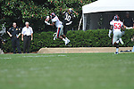 Ole Miss' Marcus Temple(4) intercepts a pass thrown to Vanderbilt quarterback Larry Smith (10) in Nashville, Tenn. on Saturday, September 17, 2011. Vanderbilt won 30-7..
