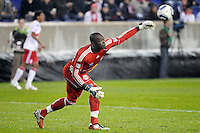 Goalkeeper Bouna Coundoul (18) of the New York Red Bulls. The San Jose Earthquakes defeated the New York Red Bulls 3-1, (3-2) on aggregate during the 2nd leg of the Major League Soccer (MLS) Eastern Conference Semifinals at Red Bull Arena in Harrison, NJ, on November 04, 2010.