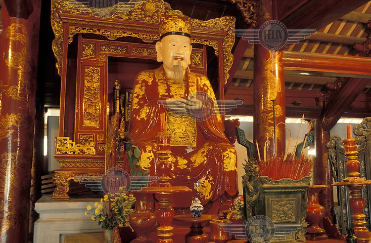 Lacquer work interior of a Confucian temple.