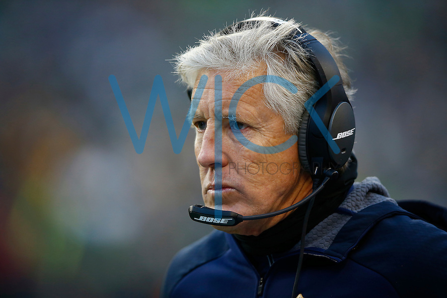 Head coach Pete Carrol of the Seattle Seahawks looks on against the Pittsburgh Steelers during the game at CenturyLink Field on November 29, 2015 in Seattle, Washington. (Photo by Jared Wickerham/DKPittsburghSports)