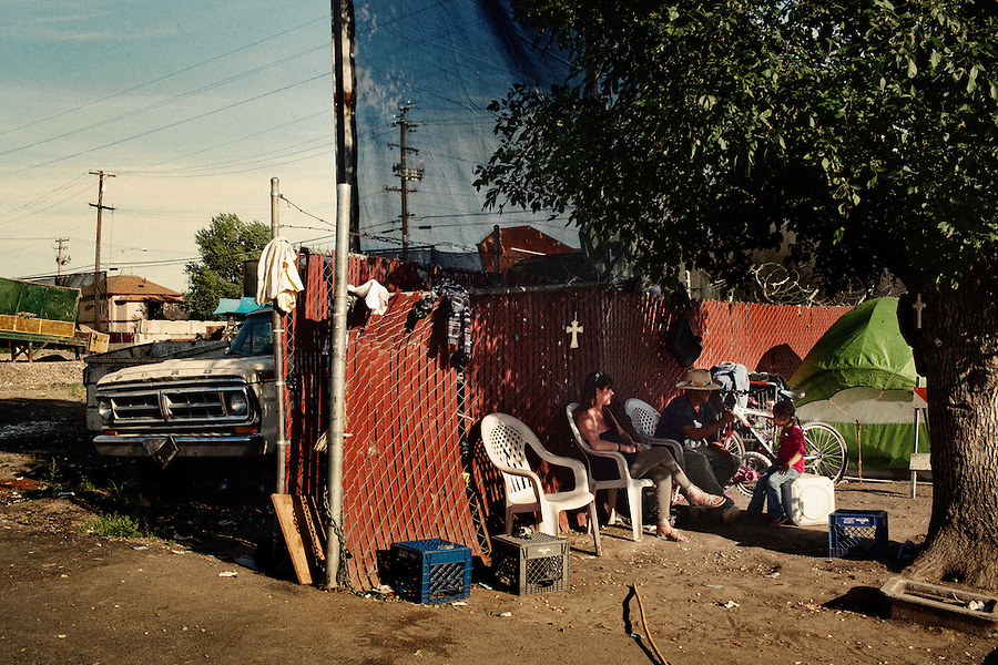 Stockton, California, April 30, 2012 &ndash; Shantytowns have popped up near service centers, such as Stockton Shelter for the Homeless, which is also across from the city dump. While there are no statistics for the city&rsquo;s homeless population, 29.3% were living below poverty level 2009, and a third of those were below 50% of the poverty level. <br />