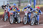 Heat 2: Brandon Freemantle (red), Shane Hazelden (blue), Dylan Black (white) and Joey Holy off the start - Hackney Hawks vs Team America - Speedway Challenge Meeting at Rye House - 09/04/11 - MANDATORY CREDIT: Gavin Ellis/TGSPHOTO - Self billing applies where appropriate - Tel: 0845 094 6026