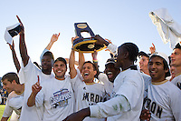 Michael Nanchoff (l), Anthony Ampaipitakwong(r) hoist the 2010 NCAA DI Championship trphy. 2010 NCAA D1 College Cup Championship Final Akron defeated Louisville 1-0 at Harder Stadium on the campus of UCSB in Santa Barbara, California on Sunday December 12, 2010.