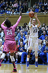 08 February 2015: Duke's Rebecca Greenwell (23) shoots over Clemson's Nikki Dixon (21). The Duke University Blue Devils hosted the Clemson University Tigers at Cameron Indoor Stadium in Durham, North Carolina in a 2014-15 NCAA Division I Women's Basketball game. Duke won the game 89-60.