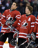 Travis Hamonic (Canada - 3), Ryan Ellis (Canada - 6) - Team Canada defeated Team Latvia 16-0 on Saturday, December 26, 2009, at the Credit Union Centre in Saskatoon, Saskatchewan during the 2010 World Juniors tournament.