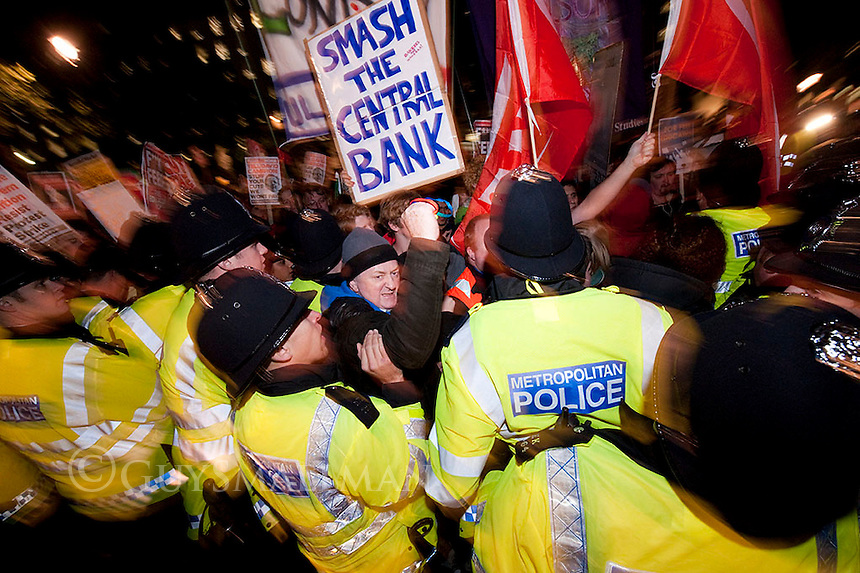 Protest by Students and Trade Unionists against austerity measures brought in by the Conservative - Liberal Democrat coalition Government. Police stopped them from blocking Whitehall.