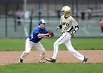Beacon Falls, CT- 24 April 2017-042417CM07-  Crosby's Eli DeJesus tags out Woodland's Jarrett Allen during their baseball matchup on Monday.  Christopher Massa Republican-American
