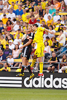 26 JUNE 2010:  Adam Cristman #7 of DC United  and Eric Brunner of the Columbus Crew (23) during MLS soccer game between DC United vs Columbus Crew at Crew Stadium in Columbus, Ohio on May 29, 2010. The Crew defeated DC United 2-0.