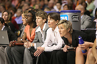 6 April 2008: Stanford Cardinal (L-R) video coordinator Evan Unrau, assistant coach Bobbie Kelsey, associate head coach Amy Tucker, head coach Tara VanDerveer, and assistant coach Kate Paye during Stanford's 82-73 win against the Connecticut Huskies in the 2008 NCAA Division I Women's Basketball Final Four semifinal game at the St. Pete Times Forum Arena in Tampa Bay, FL.