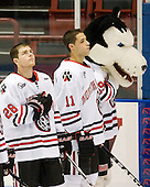 Mike Hewkin (Northeastern - 28), Justin Daniels (Northeastern - 11), Paws - The visiting Niagara University Purple Eagles defeated the Northeastern University Huskies 4-1 on Friday, November 5, 2010, at Matthews Arena in Boston, Massachusetts.