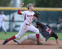 NWA Democrat-Gazette/ANDY SHUPE<br />Arkansas second baseman Carson Shaddy makes the relay throw to first after forcing out Georgia first baseman Adam Sasser Saturday, April 15, 2017, during the fifth inning at Baum Stadium in Fayetteville. Visit nwadg.com/photos to see more photographs from the game.