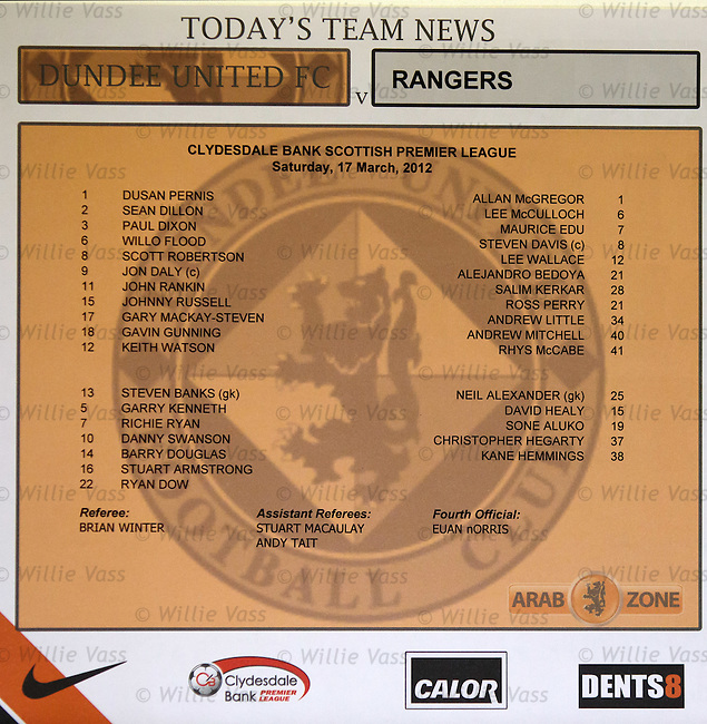 Threadbare Rangers are only able to name five substitutes out of seven on the official team sheet for today's match at Dundee Utd