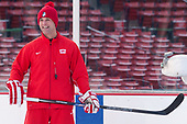 David Quinn (BU - Head Coach) - The Boston University Terriers practiced on the rink at Fenway Park on Friday, January 6, 2017.The Boston University Terriers practiced on the rink at Fenway Park on Friday, January 6, 2017.