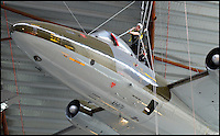 BNPS.co.uk (01202 558833)<br /> Pic: MichelleMorgans/BNPS<br /> <br /> On a wing and a prayer&hellip; the acrobatic dusting team gets to work sprucing up the spectacular hanging aircraft at RAF Cosford museum.<br /> <br /> A specialist team of daredevil cleaners wearing hard hats abseil down the magnificent aircraft to give them their annual clean so that they look their best for visitors to the museum this coming year.<br /> <br /> The job of cleaning the aircraft has taken the team at Staffordshire firm Total Access, which also cleans bridges, football stadiums and high rise buildings, all week.<br /> <br /> They climbed up the side of the 60ft hanger then abseiled down the aircraft wielding mops.<br /> <br /> The largest suspended aircraft they cleaned was the Vulcan, which is 102ft long and has a wingspan of 99ft. They also tackled the vertically hanging Lightning.