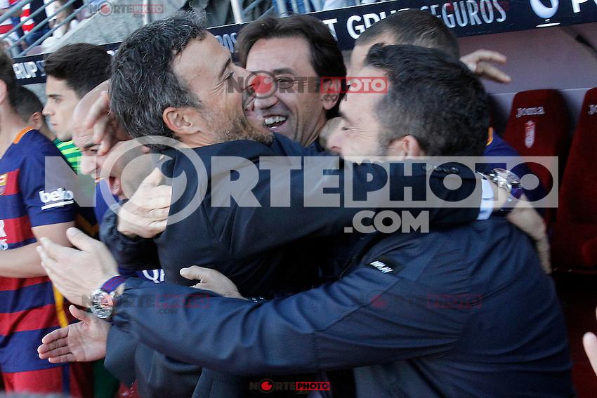 FC Barcelona's coach Luis Enrique Martinez celebrates with his assistants the victory in La Liga 2015/2016. May 14,2016. (ALTERPHOTOS/Acero) /NortePhoto.com