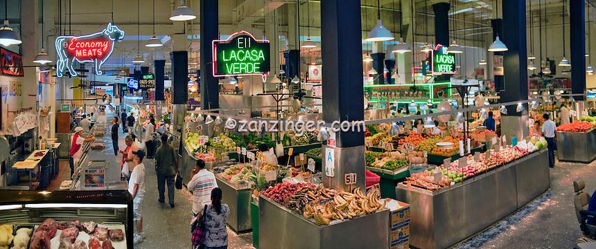 Grand Central, Public Market, Produce Display, Shelves, Los Angeles CA, Grand Central Market, Farm-fresh, fresh, fruits, vegetables, meats, poultry fresh fish,