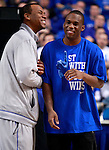 Former Wildcats Chuck Hayes and Jodie Meeks laugh during ESPN College Game Day at Rupp Arena on Saturday. Photo by Zach Brake | Staff.