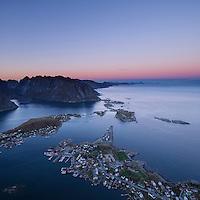 Evening twilight over Reine from summit of Reinebringen, Moskenesoy, Lofoten Islands, Norway