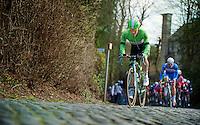 Moreno Hofland (NLD) over the cobbles of the Kruisberg<br /> <br /> Kuurne-Brussel-Kuurne 2014