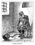 L'Homme Enchaine. (Marshal Petain is imprisoned with ball and Nazi chain)