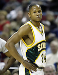 .Seattle SuperSonics Ray Allen stares off into space after missing a shot against the  Los Angeles Clippers in the third period on Friday, April 14, 2006 at the Key Arena in Seattle.  Jim Bryant Photo. &copy;2010. All Rights Reserved.